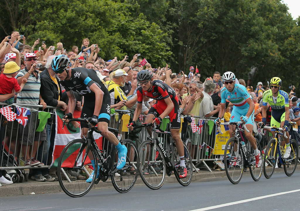 . SHEFFIELD, ENGLAND - JULY 06:  Chris Froome (L) of Great Britain and Team Sky leads the race as he attacks on the final climb and claims the points at the top of the Cote de Jenkins Road during stage two of the 2014 Le Tour de France from York to Sheffield on July 6, 2014 in Sheffield, United Kingdom. Froome is followed (L-R) by Tejay van Garderen of the United States and the BMC Racing Team, Vincenzo Nibali of Italy and the Astana Pro Team who won the stage and the overall race leader\'s yellow jersey and Alberto Contador of Spain and Tinkoff-Saxo.  (Photo by Doug Pensinger/Getty Images)