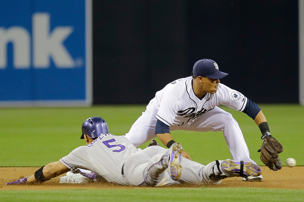 . Colorado Rockies\' Carlos Gonzalez, left, slides into second ahead of the throw with a double as San Diego Padres shortstop Everth Cabrera takes the throw in the first inning of a baseball game, Friday, April 12, 2013, in San Diego. (AP Photo/Lenny Ignelzi)