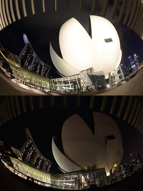 . SINGAPORE - MARCH 23: (EDITORS NOTE: Image is a digital composite.) The ArtScience Museum and the Marina Bay Sands is seen before (top) and after the lights were switched off to recognize Earth Hour on March 23, 2013 in Singapore, Singapore. Businesses and households around the world switch their lights off for an hour at 20:30 local time on March 23, to celebrate Earth Hour and raise awareness about climate change and renewable energy. Earth hour began in Australia in 2007 and is now celebrated in over 150 countries around the world.  (Photo by Suhaimi Abdullah/Getty Images)