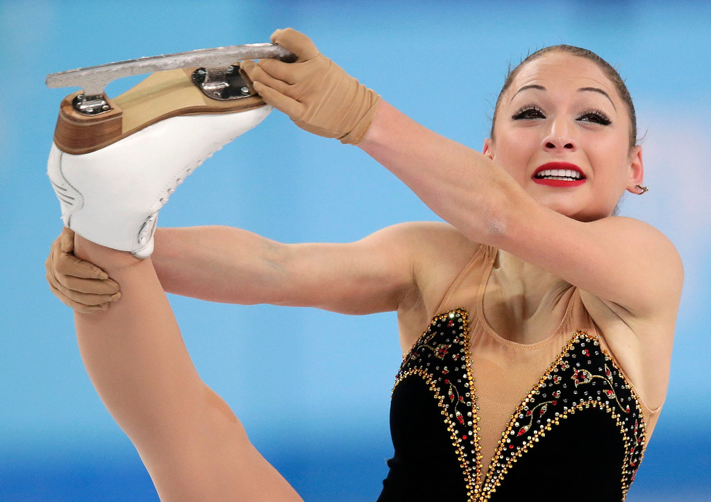 . Elene Gedevanishvili of Georgia competes in the women\'s free skate figure skating finals at the Iceberg Skating Palace during the 2014 Winter Olympics, Thursday, Feb. 20, 2014, in Sochi, Russia. (AP Photo/Bernat Armangue)