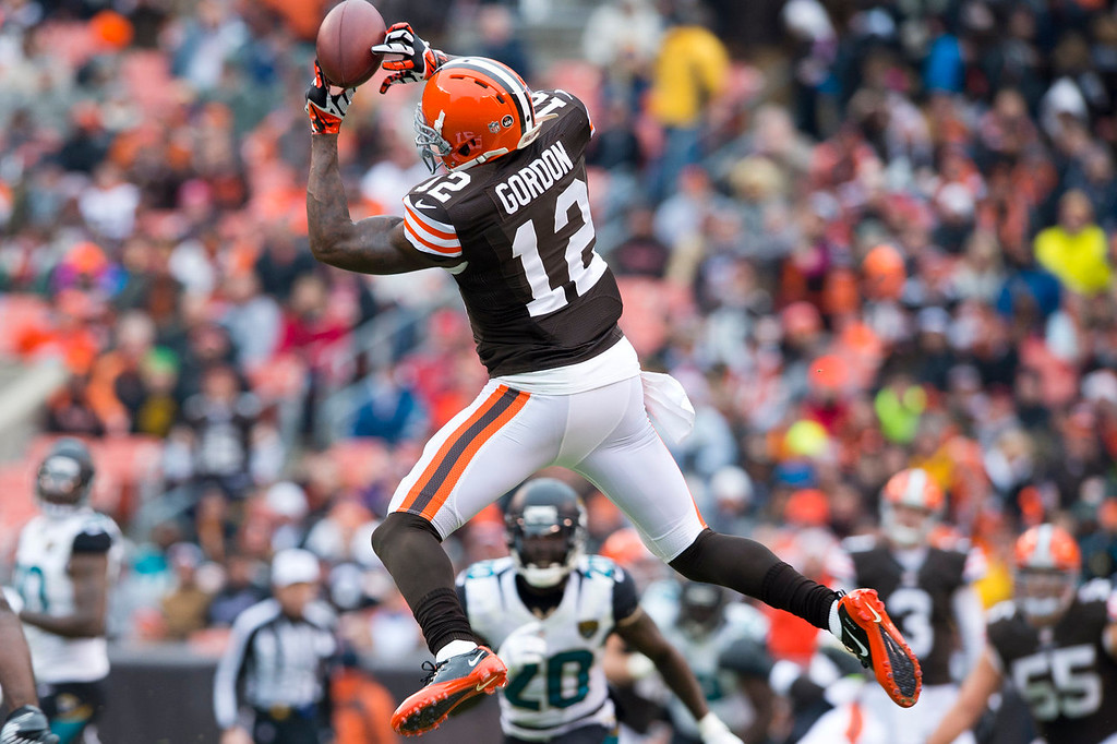 . Wide receiver Josh Gordon #12 of the Cleveland Browns catches a pass during the first half against the Jacksonville Jaguars at FirstEnergy Stadium on December 1, 2013 in Cleveland, Ohio. (Photo by Jason Miller/Getty Images)