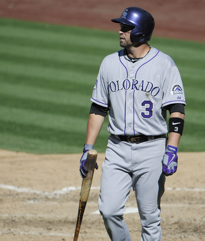 . Michael Cuddyer #3 of the Colorado Rockies walks back to the dugout after striking out during the eighth inning of a baseball game against the San Diego Padres at Petco Park on September 8, 2013 in San Diego, California. The Padres won 5-2.  (Photo by Denis Poroy/Getty Images)
