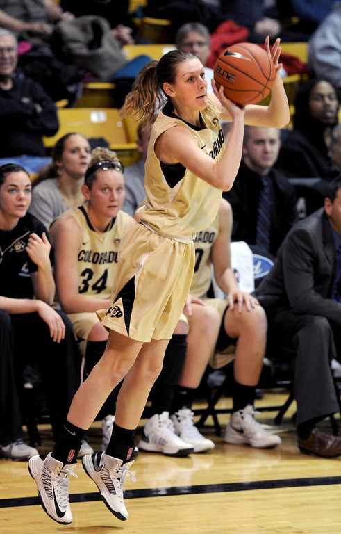 . Lexy Kresl of CU puts up a three on Oregon. Cliff Grassmick / February 10, 2013