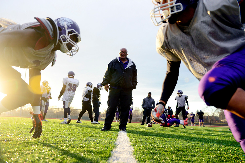 . South High head coach Tony Lindsay watches drills during practice at the school on Wednesday, November 28, 2012. AAron Ontiveroz, The Denver Posta