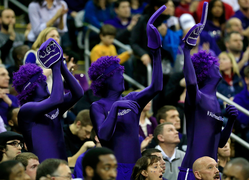 . KANSAS CITY, MO - MARCH 22: Fans wear full bodysuits that read \'Airhead Moment\' in the first half of the game between the Kansas State Wildcats and the La Salle Explorers during the second round of the 2013 NCAA Men\'s Basketball Tournament at the Sprint Center on March 22, 2013 in Kansas City, Missouri.  (Photo by Jamie Squire/Getty Images)