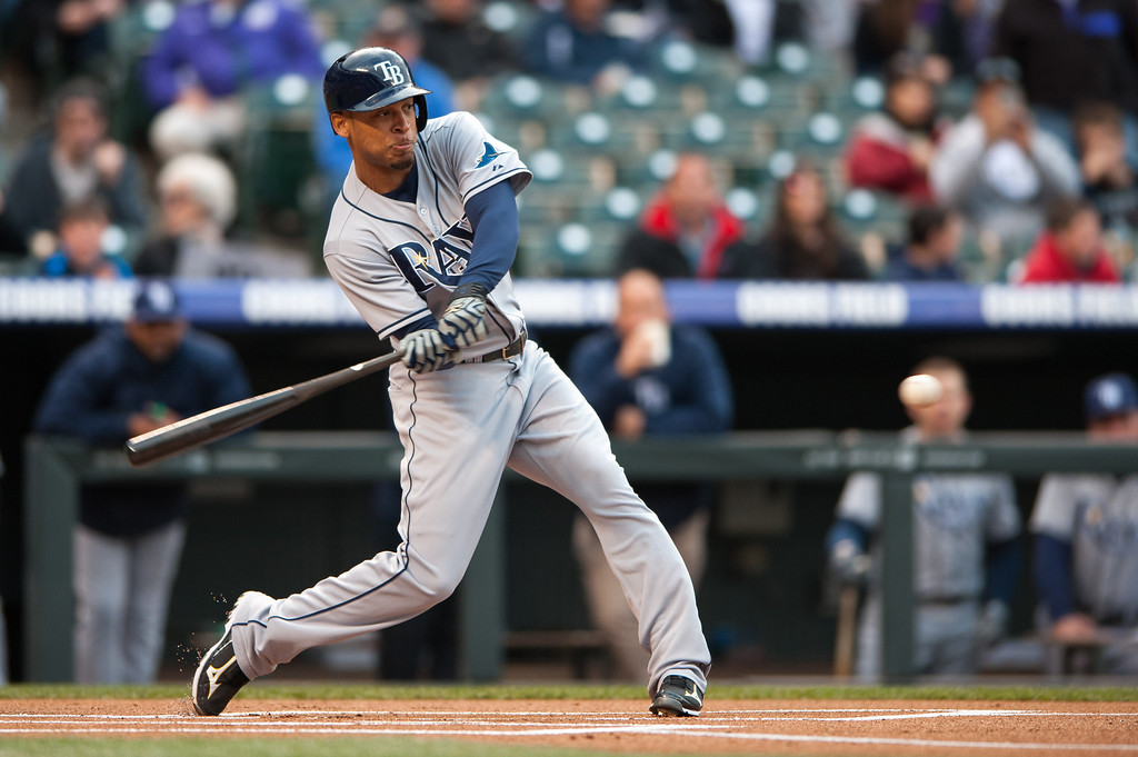 . DENVER, CO - MAY 4:  Desmond Jennings #8 of the Tampa Bay Rays singles on the first pitch of the game against the Colorado Rockies at Coors Field on May 4, 2013 in Denver, Colorado. (Photo by Dustin Bradford/Getty Images)