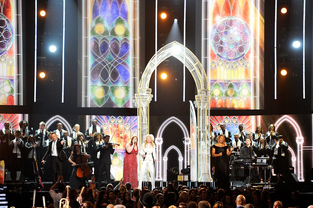 . (L-R) Singers Mary Lambert, Madonna and Queen Latifah perform onstage during the 56th GRAMMY Awards at Staples Center on January 26, 2014 in Los Angeles, California.  (Photo by Kevork Djansezian/Getty Images)