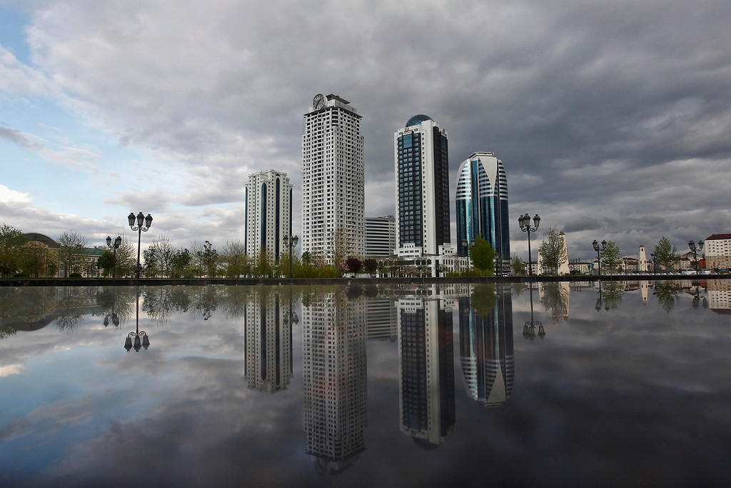 . The skyscrapers of the Grozny city complex are seen in the Chechen capital Grozny April 27, 2013. The naming of two Chechens, Dzhokhar and Tamerlan Tsarnaev, as suspects in the Boston Marathon bombings has put Chechnya back on the world\'s front pages, Chechnya appears almost miraculously reborn. The streets have been rebuilt. Walls riddled with bullet holes are long gone. New high rise buildings soar into the sky. Spotless playgrounds are packed with children. A giant marble mosque glimmers in the night. Yet, scratch the surface and the miracle is less impressive than it seems. Behind closed doors, people speak of a warped and oppressive place, run by a Kremlin-imposed leader through fear. Picture taken April 27, 2013.   REUTERS/Maxim Shemetov