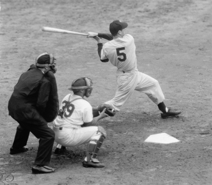 . Joe DiMaggio at bat in the ninth inning of the fourth game of the 1949 World Series against the Brooklyn Dodgers, October 7, 1949.  The Yanks took the game 6-4 and eventually won the Series, 4 games to 1. DiMaggio batted a very sub-par .111 for the Series. (AP Photo)