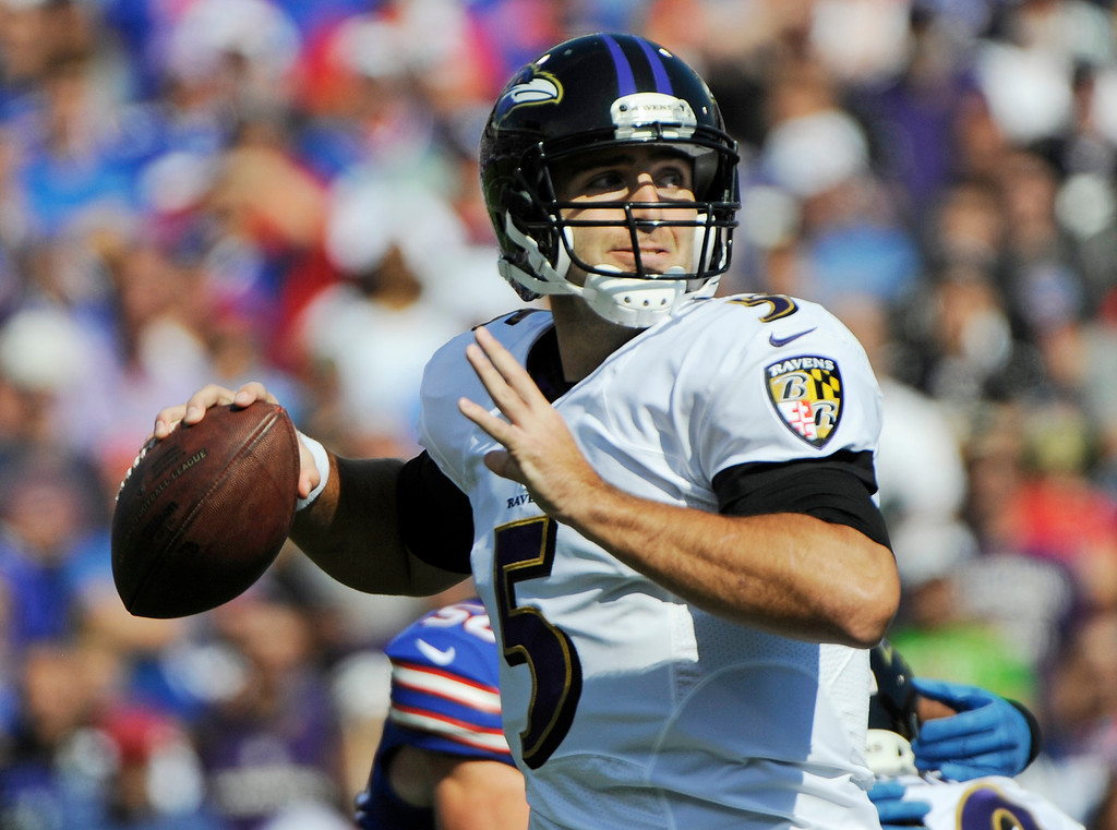 . Baltimore Ravens quarterback Joe Flacco (5) passes against the Buffalo Bills during the first half of an NFL football game on Sunday, Sept. 29, 2013, in Orchard Park, N.Y. (AP Photo/Gary Wiepert)