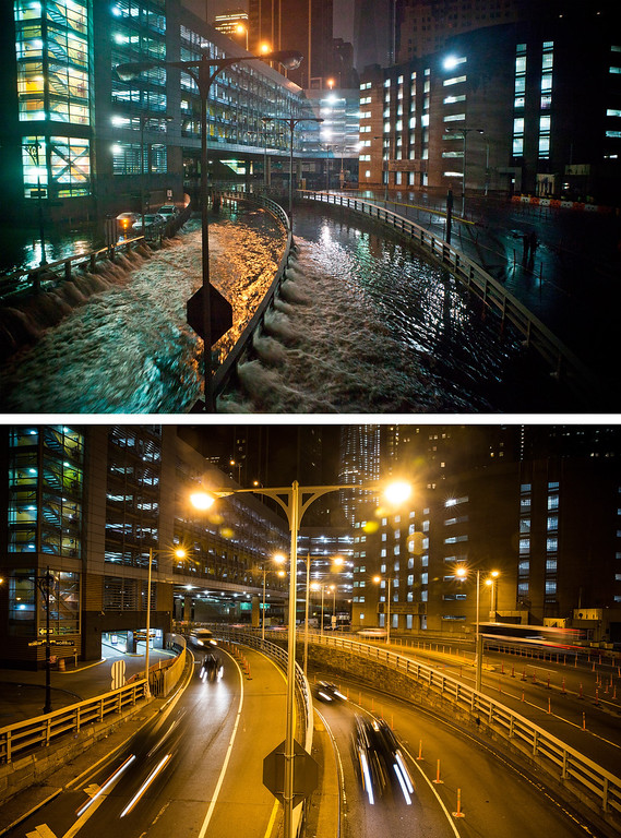 . NEW YORK, NY - OCTOBER 29:  (top)  Rising water caused by Superstorm Sandy rushes into the Carey Tunnel (previously known as the Brooklyn Battery Tunnel) October 29, 2012 in New York City.  NEW YORK, NY - OCTOBER 22:  (bottom)  Cars use the Carey Tunnel October 22, 2013 in New York City.  Hurricane Sandy made landfall on October 29, 2012 near Brigantine, New Jersey and affected 24 states from Florida to Maine and cost the country an estimated $65 billion.  (Photos by Andrew Burton/Getty Images)