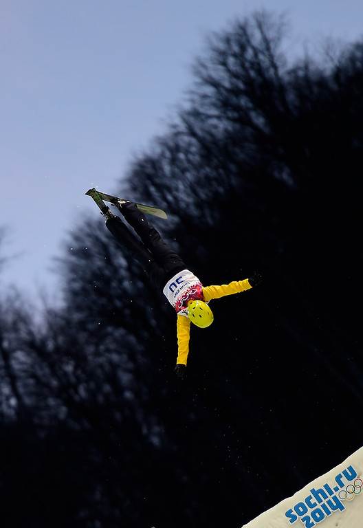 . Brazil\'s Joselane Santos competes in the Women\'s Freestyle Skiing Aerials Qualifications at the Rosa Khutor Extreme Park during the Sochi Winter Olympics on February 14, 2014. (JAVIER SORIANO/AFP/Getty Images)