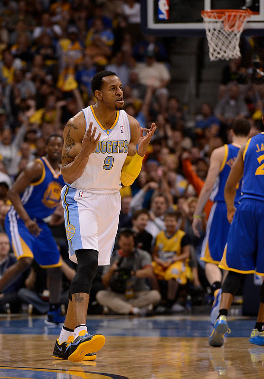 . Denver Nuggets shooting guard Andre Iguodala (9) celebrates hitting a shot in the third quarter. The Denver Nuggets took on the Golden State Warriors in Game 5 of the Western Conference First Round Series at the Pepsi Center in Denver, Colo. on April 30, 2013. (Photo by John Leyba/The Denver Post)