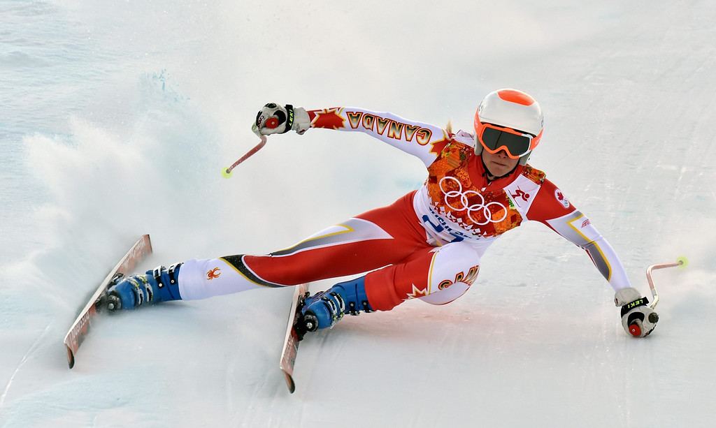 . Marie-Michele Gagnon of Canada in action during the Downhill portion of the Women\'s Super Combined race at the Rosa Khutor Alpine Center during the Sochi 2014 Olympic Games, Krasnaya Polyana, Russia, 10 February 2014.  EPA/JUSTIN LANE