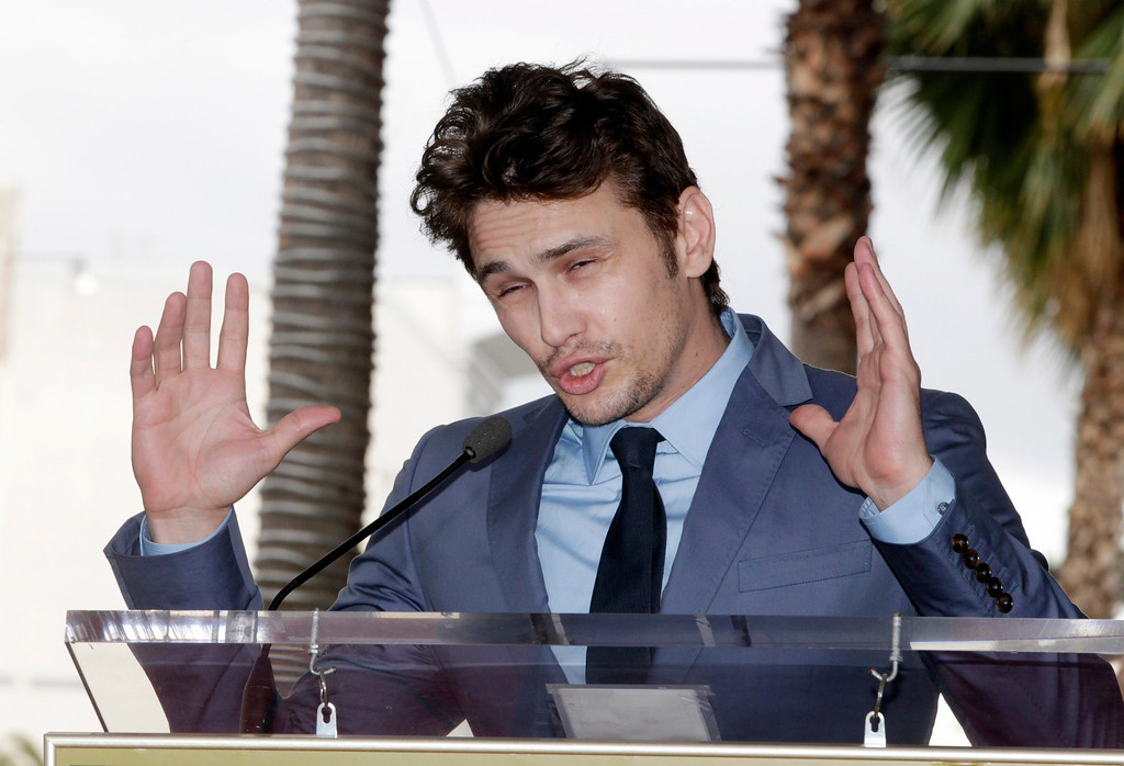 . Actor James Franco speaks during ceremonies unveiling his star on the Hollywood Walk of Fame, in Hollywood March 7, 2013. REUTERS/Fred Prouser