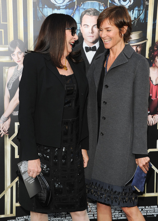 ". Actresses Anjelica Huston, left, and Carey Lowell attend ""The Great Gatsby\"" world premiere at Avery Fisher Hall on Wednesday May 1, 2013 in New York. (Photo by Evan Agostini/Invision/AP)"