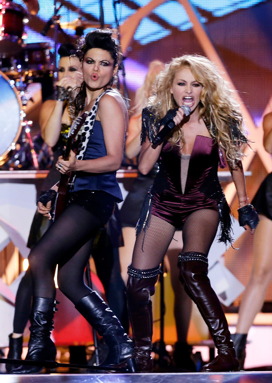 . Singer Paulina Rubio performs at the Latin Billboard Awards in Coral Gables, Fla., Thursday April 25, 2013. (AP Photo/Alan Diaz)