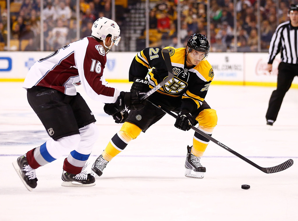 . Loui Eriksson #21 of the Boston Bruins plays the puck down the ice against Cory Sarich #16 of the Colorado Avalanche in the first period during the game on October 10, 2013 at TD Garden in Boston, Massachusetts. (Photo by Jared Wickerham/Getty Images)