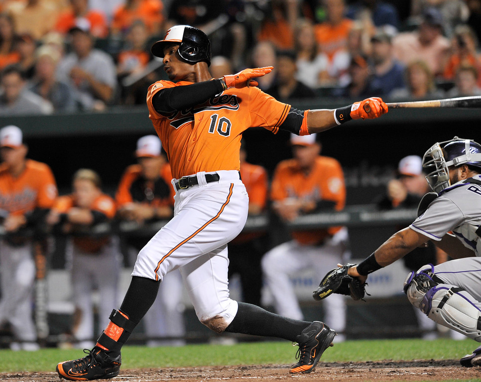 . Baltimore Orioles\' Adam Jones follows through on a RBI-single against the Colorado Rockies in the third inning of a baseball game on Saturday, Aug. 17, 2013, in Baltimore. (AP Photo/Gail Burton)