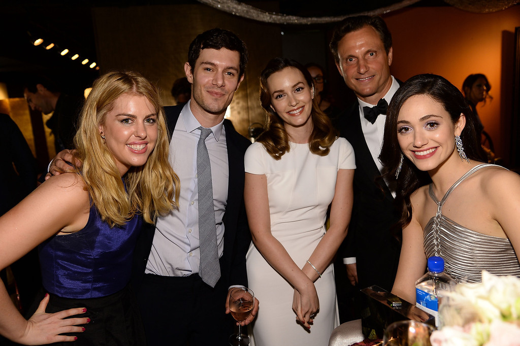 . Actors Leighton Meester (C) and Adam Brody (2nd L), Tony Goldwyn (2nd R), Emmy Rossum (R) attend the 68th Annual Tony Awards at Radio City Music Hall on June 8, 2014 in New York City.  (Photo by Dimitrios Kambouris/Getty Images for Tony Awards Productions)