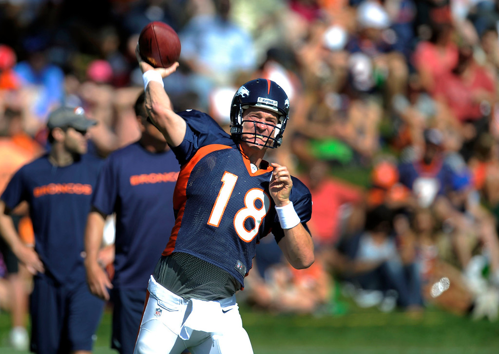 . Denver Broncos Peyton Manning (18) drops back to pass during training camp August 13, 2013 at Dove Valley. (Photo By John Leyba/The Denver Post)