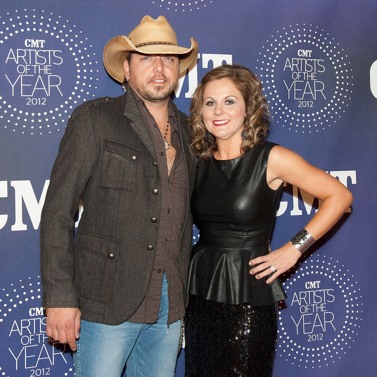 ". Jason Aldean and Jessica Ussery Aldean attend the 2012 CMT ""Artists Of The Year\"" Awards at The Factory At Franklin on December 3, 2012 in Franklin, Tennessee.  (Photo by Erika Goldring/Getty Images)"
