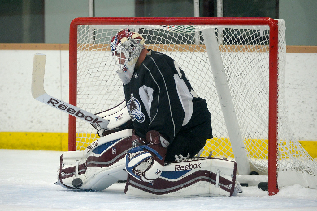 . Colorado Avalanche G J.S. Giguere (35) makes a save during practice September 9, 2013 at Family Sports. (Photo By John Leyba/The Denver Post)