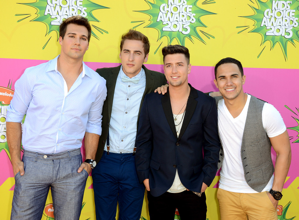. Big Time Rush, from left, James Maslow, Kendall Schmidt, Logan Hendewrson, Kendall Schmidt, and Carlos Pena, Jr. arrive at the 26th annual Nickelodeon\'s Kids\' Choice Awards on Saturday, March 23, 2013, in Los Angeles. (Photo by Jordan Strauss/Invision/AP)
