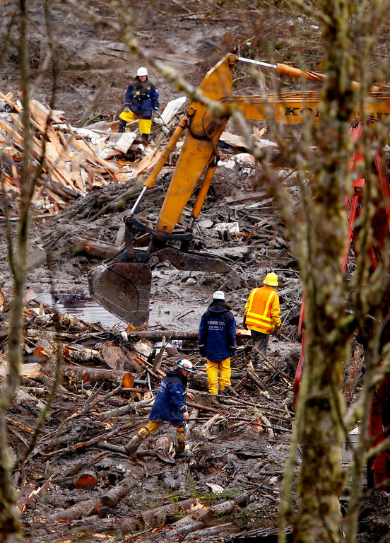 . Searchers using heavy equipment work at a massive pile of debris at the scene of a deadly mudslide, Thursday, March 27, 2014, in Oso, Wash.  (AP Photo/The Herald, Mark Mulligan, Pool)