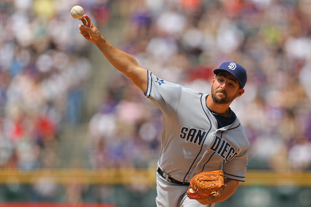 . Starting pitcher Donn Roach of the San Diego Padres delivers to home plate during the first inning against the Colorado Rockies at Coors Field on May 18, 2014 in Denver, Colorado. (Photo by Justin Edmonds/Getty Images)
