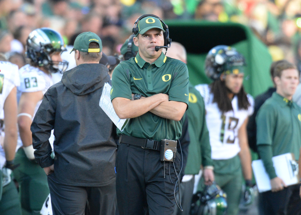 . BOULDER, CO - OCTOBER 05 : Head coach Mark Helfrich of University of Oregon on the sideline during the game against University of Colorado at Folsom Field. Boulder, Colorado. October 5, 2013. Oregon won 57-16. (Photo by Hyoung Chang/The Denver Post)