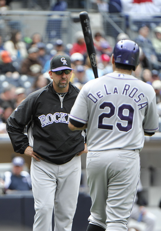 . Walt Weiss #22 manager of the Colorado Rockies talks with Jorge De La Rosa #29 during the fifth inning of  a baseball game against the San Diego Padres at Petco Park on April 14, 2013 in San Diego, California.  (Photo by Denis Poroy/Getty Images)