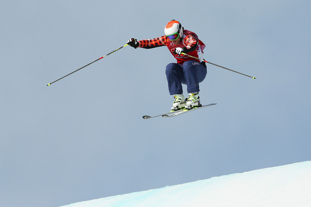 . (L-R) Brady Leman of Canada competes during the Freestyle Skiing Men\'s Ski Cross 1/4 Finals on day 13 of the 2014 Sochi Winter Olympic at Rosa Khutor Extreme Park on February 20, 2014 in Sochi, Russia.  (Photo by Cameron Spencer/Getty Images)