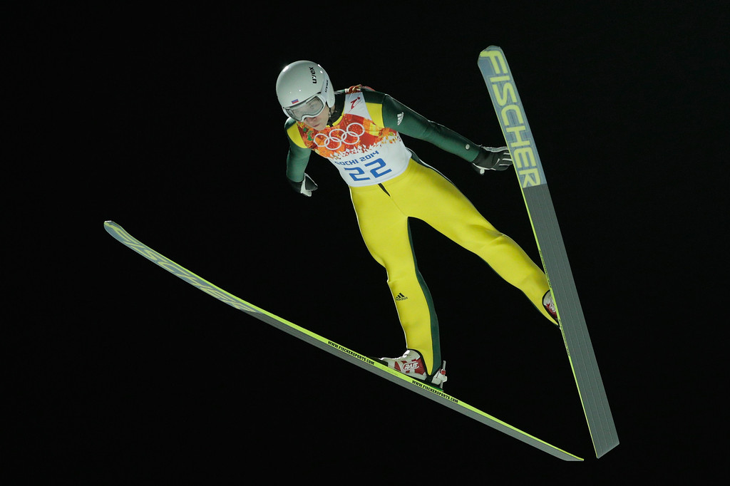 . Alexey Romashov of Russia jumps during the Men\'s Large Hill Individual Qualification on day 7 of the Sochi 2014 Winter Olympics at the RusSki Gorki Ski Jumping Center on February 14, 2014 in Sochi, Russia.  (Photo by Adam Pretty/Getty Images)