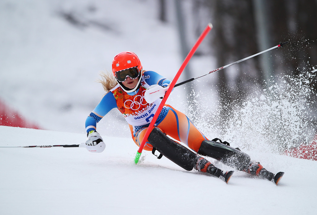 . Ragnhild Mowinckel of Norway in action during the Alpine Skiing Women\'s Super Combined Slalom on day 3 of the Sochi 2014 Winter Olympics at Rosa Khutor Alpine Center on February 10, 2014 in Sochi, Russia.  (Photo by Clive Rose/Getty Images)