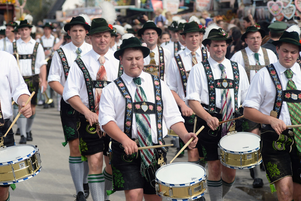 . Drummers play during the traditional opening of the Oktoberfest beer festival at the Theresienwiese in Munich, southern Germany, on September 21, 2013. The world\'s biggest beer festival Oktoberfest will run until October 6, 2013. AFP PHOTO / DPA / FELIX H�RHAGER/AFP/Getty Images