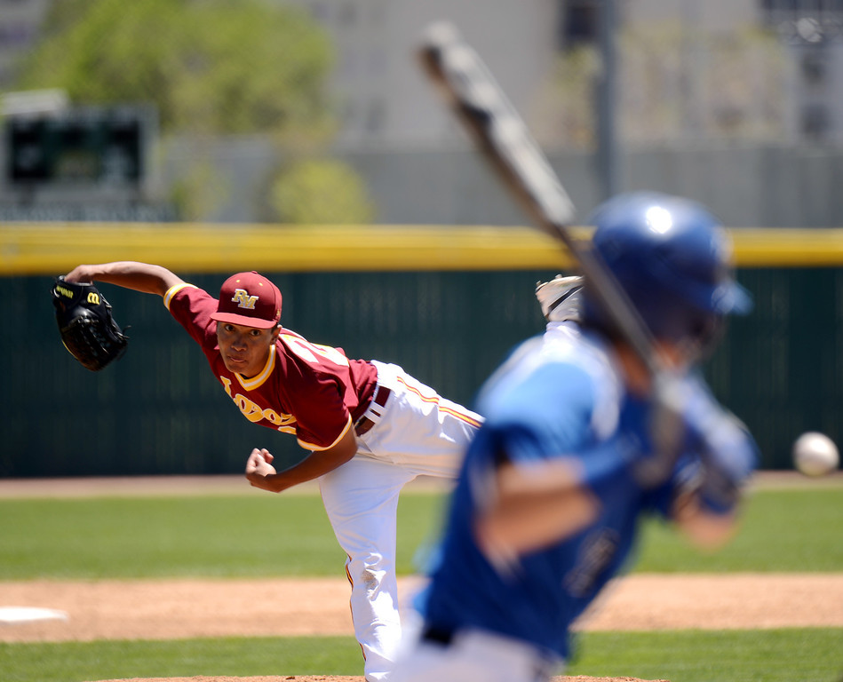 . DENVER, CO. - MAY 24 :Grant Gamble of Rocky Mountain High School pitches against Grandview High School during semifinal round of 5A State Championships baseball game at All City Field. Denver, Colorado. May 24, 2013. Rocky Mountain won 8-6. (Photo By Hyoung Chang/The Denver Post)