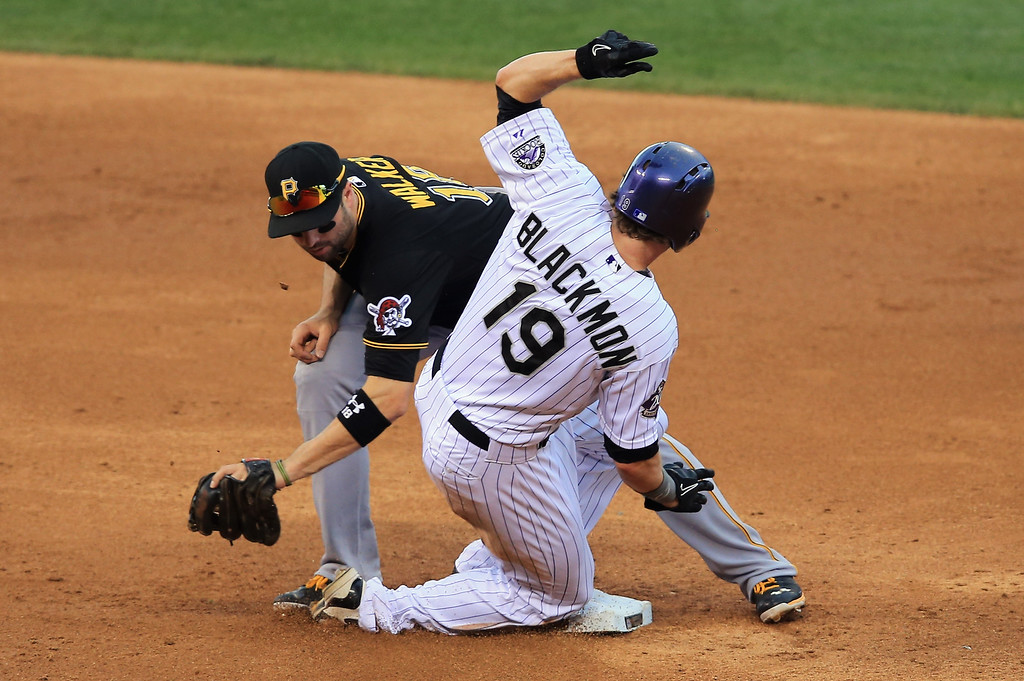 . Charlie Blackmon #19 of the Colorado Rockies slides safely into second with a stolen base as second baseman Neil Walker #18 of the Pittsburgh Pirates takes the throw at Coors Field on August 11, 2013 in Denver, Colorado.  (Photo by Doug Pensinger/Getty Images)
