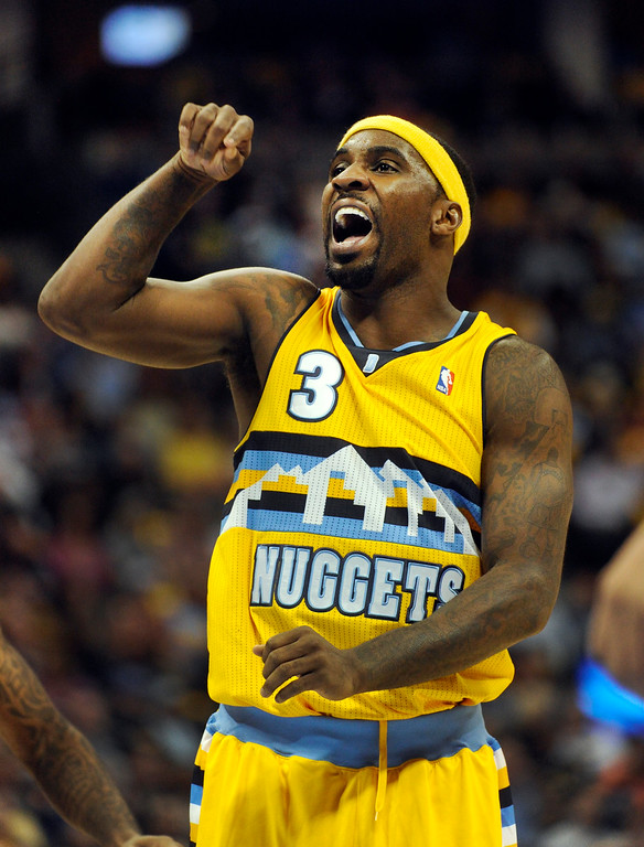 . DENVER, CO. - NOVEMBER 1:  Denver guard Ty Lawson reacted after he missed a free throw in the second half. The Denver Nuggets were defeated by the Portland Trail Blazers 113-98 Friday night, November 1, 2013 at the Pepsi Center.  The Nuggets are winless after two games. Photo By Karl Gehring/The Denver Post