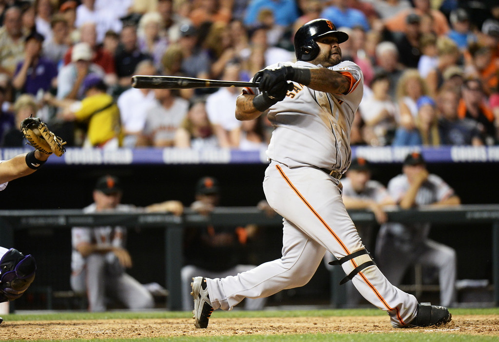 . DENVER, CO. - June 28: Pablo Sandoval of San Francisco Giants (48) swing out by Jhoulys Chacin of Colorado Rockies (45)  at Coors Field. Denver, Colorado. June 28, 2013. Colorado won 4-1. (Photo By Hyoung Chang/The Denver Post)