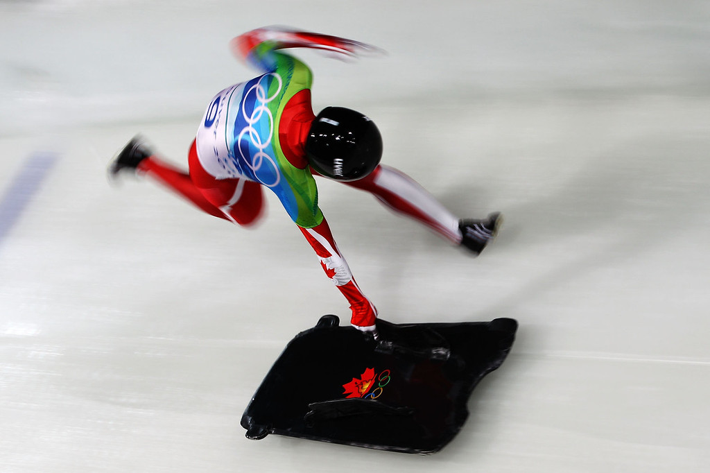 . Amy Gough of Canada competes in the women\'s skeleton run 2 on day 7 of the 2010 Vancouver Winter Olympics at The Whistler Sliding Centre on February 18, 2010 in Whistler, Canada.  (Photo by Richard Heathcote/Getty Images)