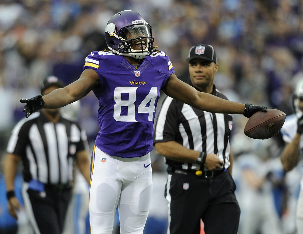 . Cordarrelle Patterson #84 of the Minnesota Vikings celebrates a touchdown against the Detroit Lions during the first quarter of the game on December 29, 2013 at Mall of America Field at the Hubert H. Humphrey Metrodome in Minneapolis, Minnesota. (Photo by Hannah Foslien/Getty Images)