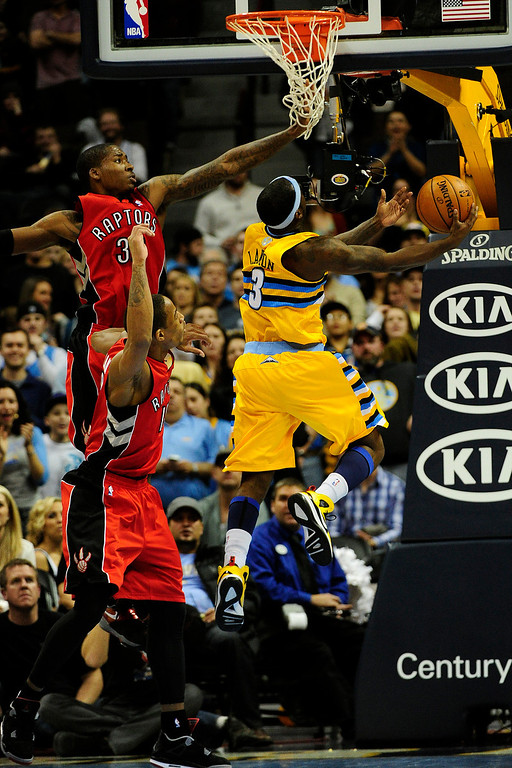 . Denver Nuggets point guard Ty Lawson (3) drives to the hoop agains the Toronto Raptors during the second half of the Nuggets\' 113-110 win at the Pepsi Center on Monday, December 3, 2012. AAron Ontiveroz, The Denver Post