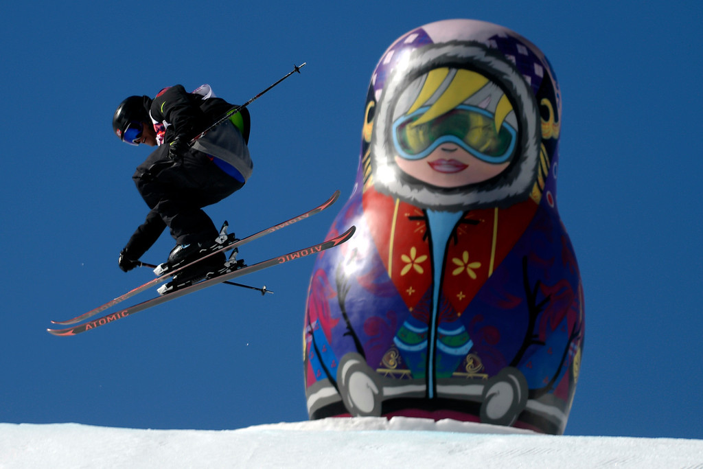 . Norway\'s Andreas Haatveit jumps during the men\'s ski slopestyle final at the Rosa Khutor Extreme Park. Sochi 2014 Winter Olympics on Thursday, February 13, 2014. (Photo by AAron Ontiveroz/The Denver Post)