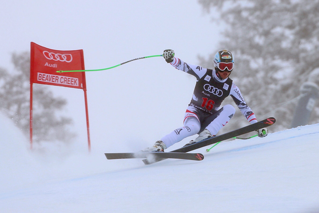 . Austria\'s Hannes Reichelt in action during the Men\'s Downhill race at the FIS Alpine Skiing World Cup in Beaver Creek, Colorado, USA, 06 December 2013.  EPA/George Frey