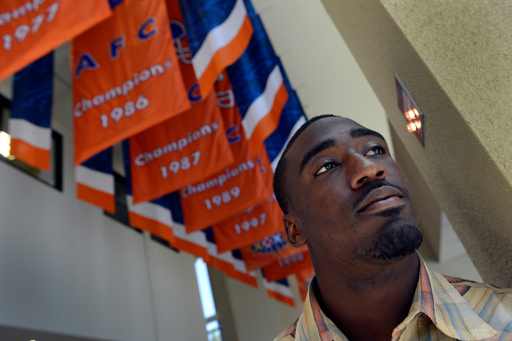 . ENGLEWOOD, CO. - APRIL 27: Kayvon Webster poses for a portrait at the Denver Broncos\' training facility in Englewood, CO April 27, 2013. The Broncos selected the South Florida cornerback in the 2013 NFL Draft.  (Photo By Craig F. Walker/The Denver Post)