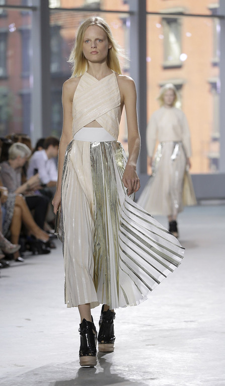 . The Proenza Schouler Spring 2014 collection is modeled during Fashion Week in New York, Wednesday, Sept. 11, 2013.  (AP Photo/Seth Wenig)