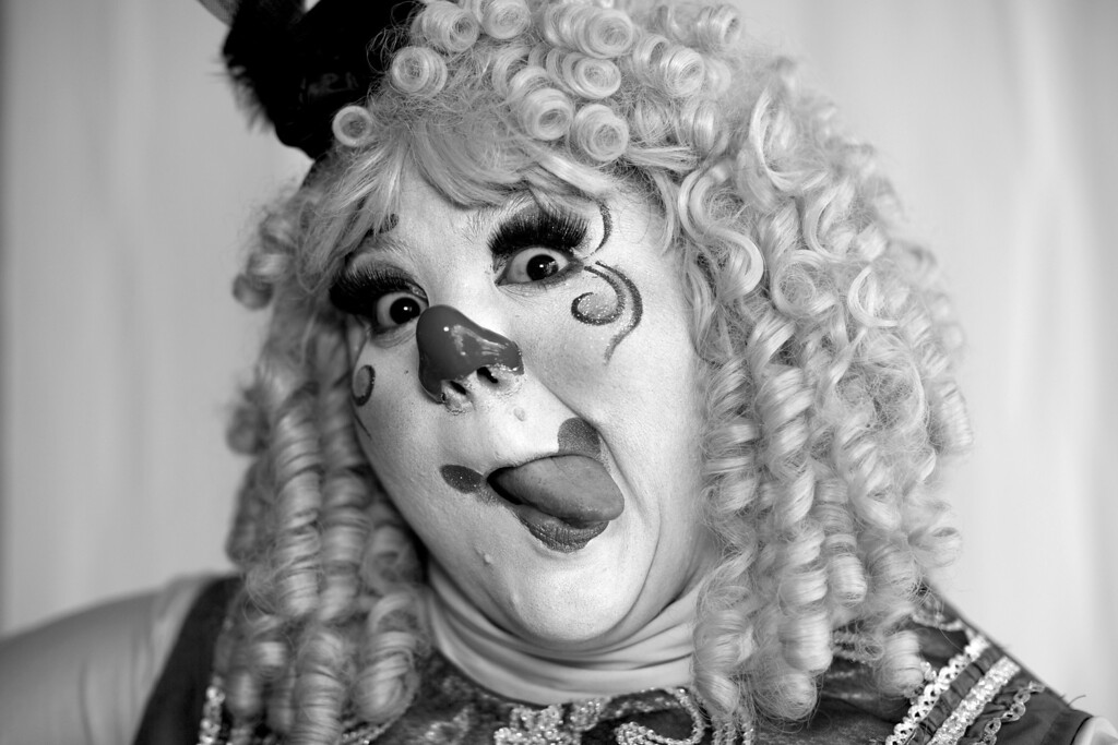 . Mexican clown Bomborita poses for a portrait at the 17th International Clown Convention in Mexico City, Tuesday, Oct. 22, 2013. The goal of the convention is to professionalize clowns in Latin America and highlight the need for a School of Clown Arts in Mexico. (AP Photo/Dario Lopez-Mills)
