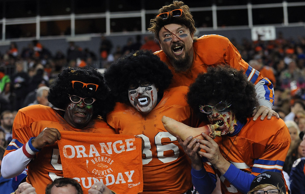 . Denver Broncos fans celebrate halloween at the game against New Orleans Sunday, October 28, 2012 at Sports Authority Field. Steve Nehf, The Denver Post