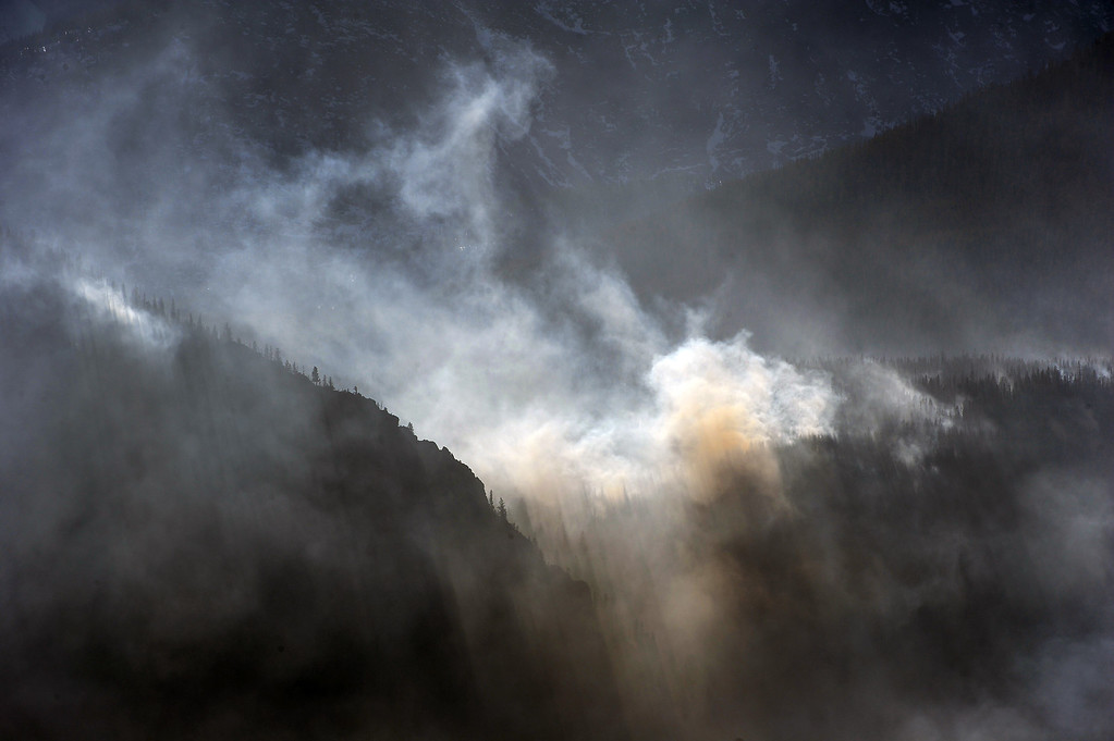 . The Fern Lake Fire burns in Rocky Mountain National Park on December 2, 2012. The Fern Lake Fire, which has been burning in Rocky Mountain National Park since October, kicked up yesterday and forced the evacuation of hundreds of homes east of the fire. Helen H. Richardson, The Denver Post